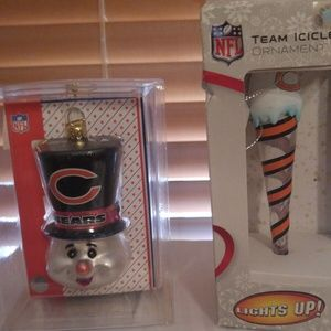 chicago bears Glass Ornaments